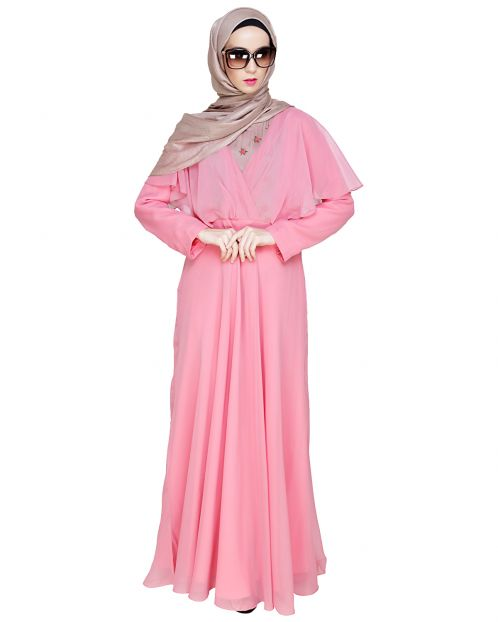 Mesmerising Draped Rose Pink Abaya Dress
