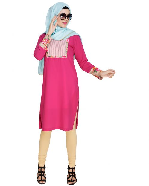 Emboridered Yoke Fuschia Kurta