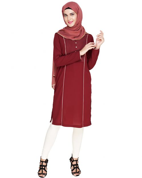Beautiful Pintucked Wine Kurta