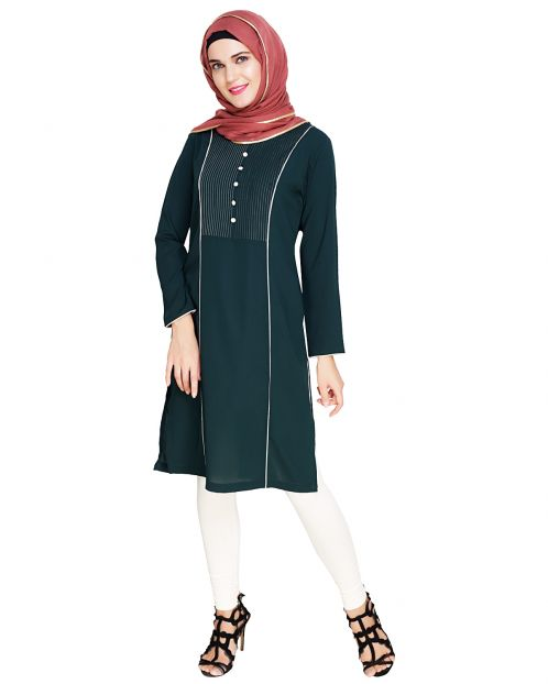 Beautiful Pintucked Green Kurta