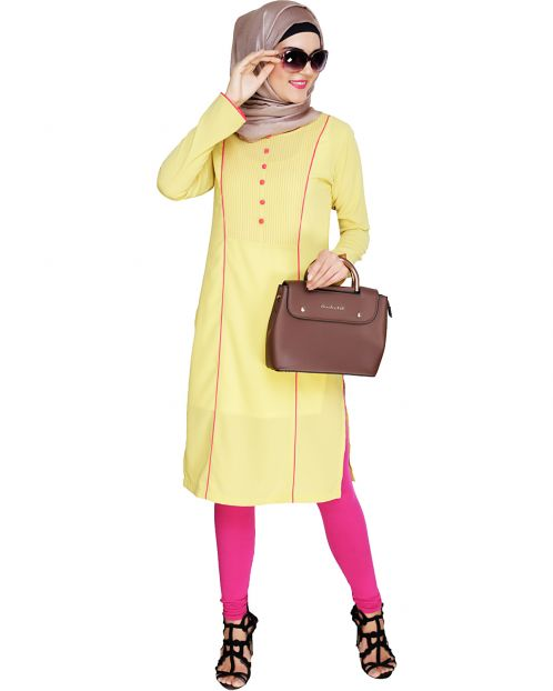Beautiful Pintucked Lime Yellow Kurta