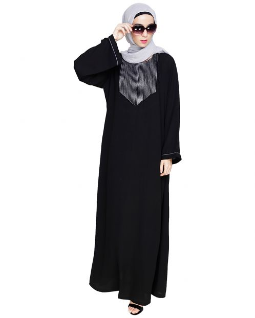 Whimsical Embroidered Black Dubai Style Abaya