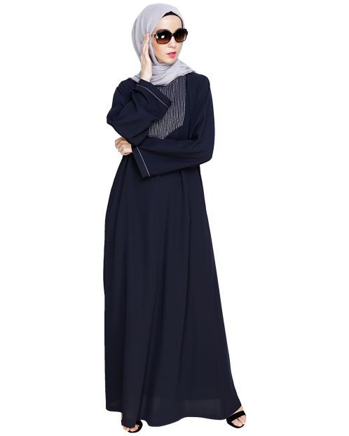 Whimsical Embroidered Grey Dubai Style Abaya