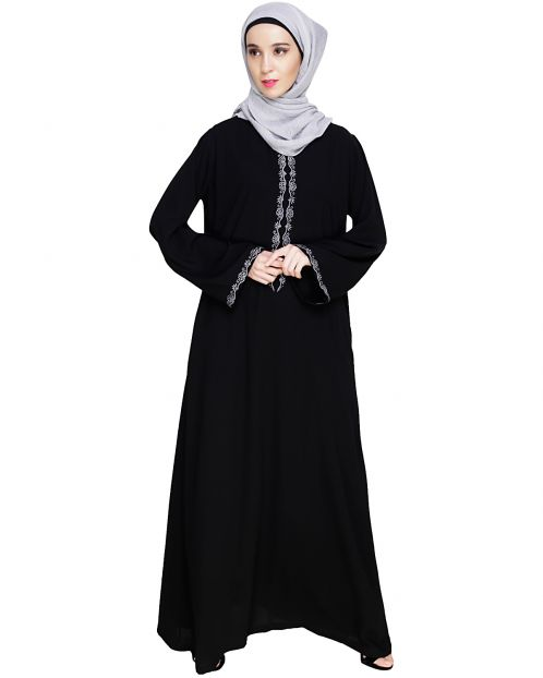 Lotus Embroidered Black Dubai Style Abaya