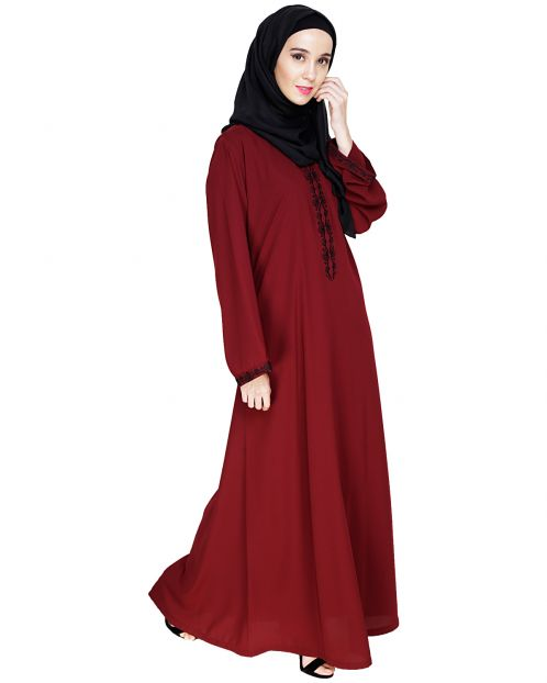 Lotus Embroidered Wine Dubai Style Abaya