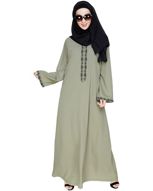 Lotus Embroidered Dead Mint Dubai Style Abaya
