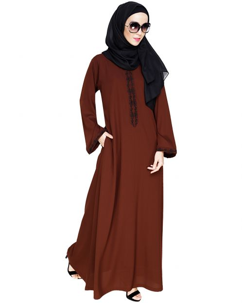 Lotus Embroidered Brown Dubai Style Abaya