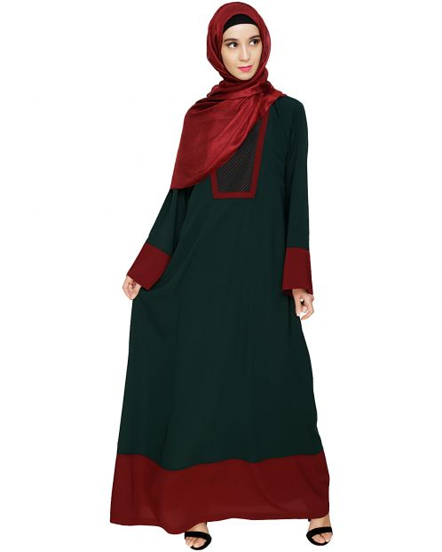 Embroidered Yoke Green Dubai Style Abaya