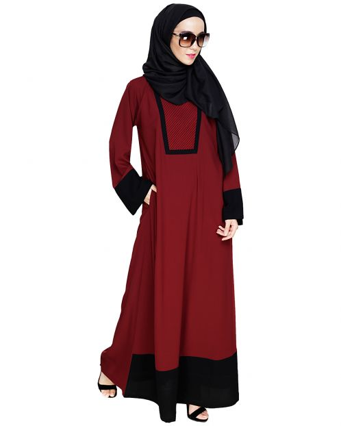 Embroidered Yoke Wine Dubai Style Abaya