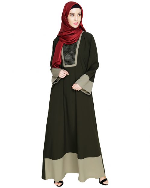 Embroidered Yoke Olive Dubai Style Abaya