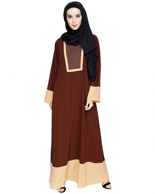 Embroidered Yoke Brown Dubai Style Abaya
