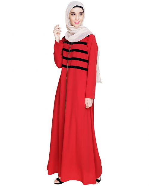 Enticing Stripes Maroon Abaya