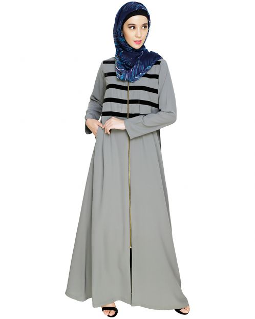 Enticing Stripes Grey Abaya