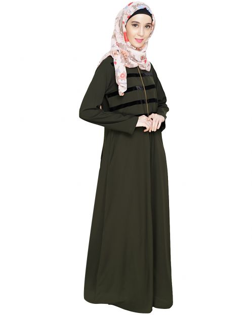 Enticing Stripes Olive Abaya