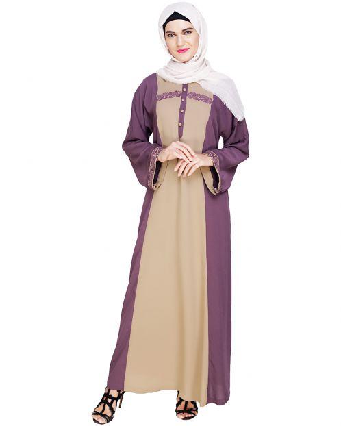 Panelled Dubai Style Purple Abaya