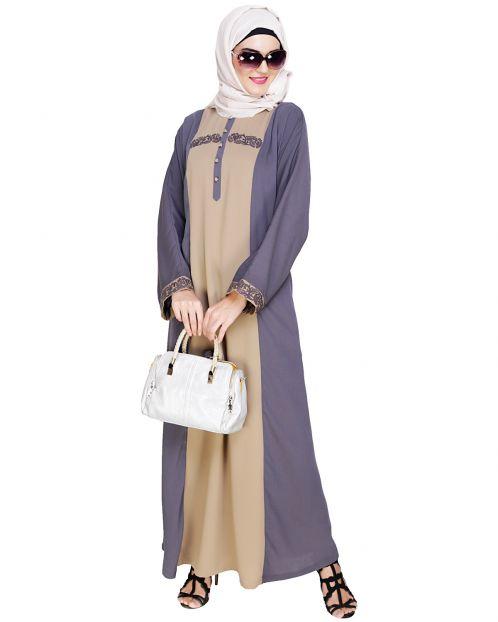 Panelled Dubai Style Grey Abaya