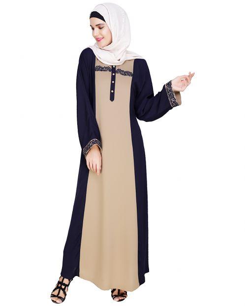 Panelled Dubai Style Dark Blue Abaya