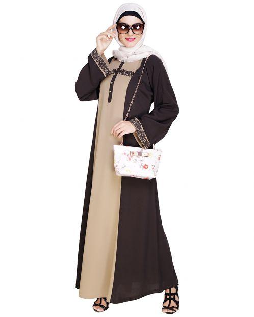 Panelled Dubai Style Brown Abaya