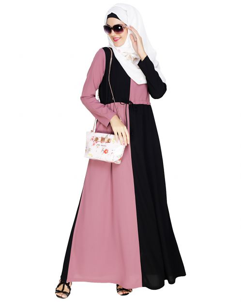 Colour Blocked Onion Pink Abaya
