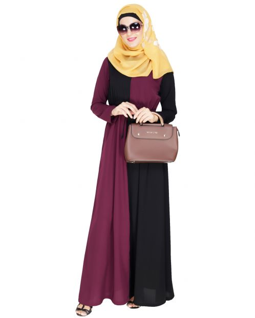 Colour Blocked Purple Abaya
