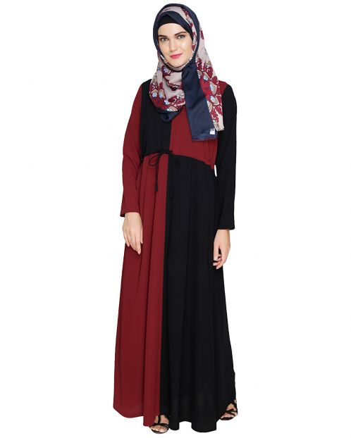 Colour Blocked Maroon Abaya
