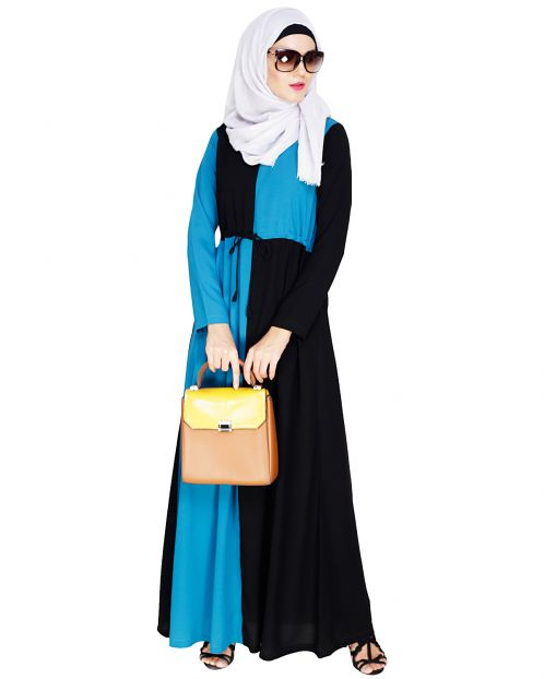 Colour Blocked Teal Blue Abaya