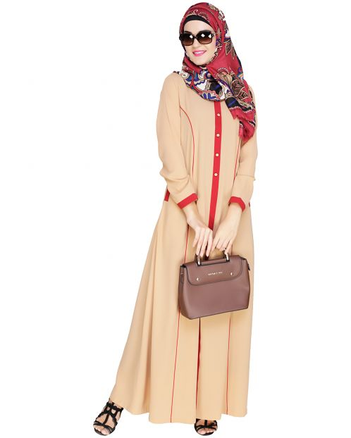 Beige Panelled Abaya