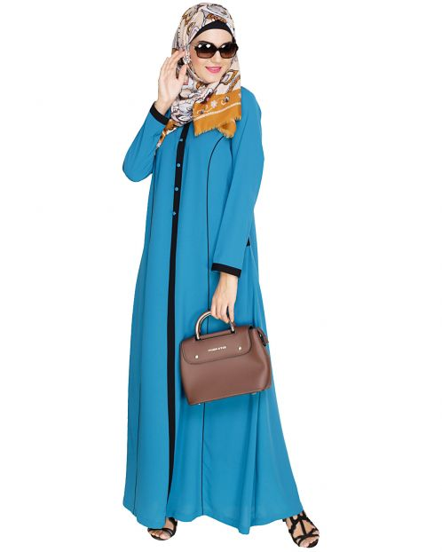 Teal Blue Panelled Abaya
