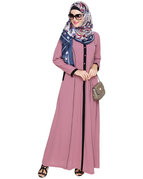 Onion Pink Panelled Abaya