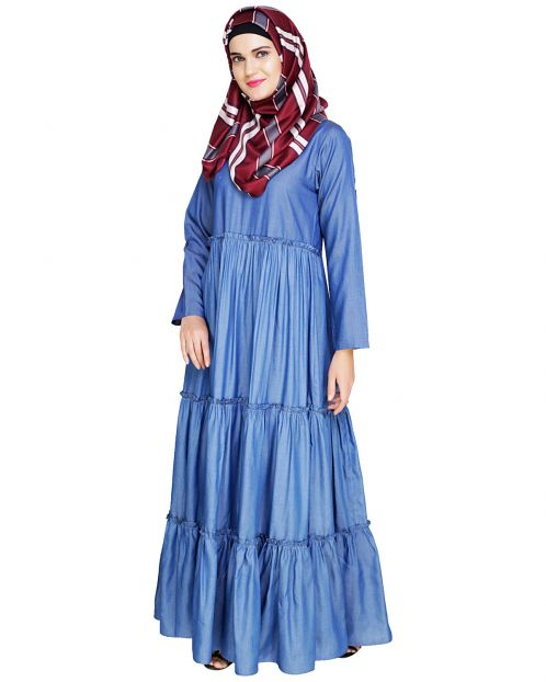 Modest Blue Denim Abaya