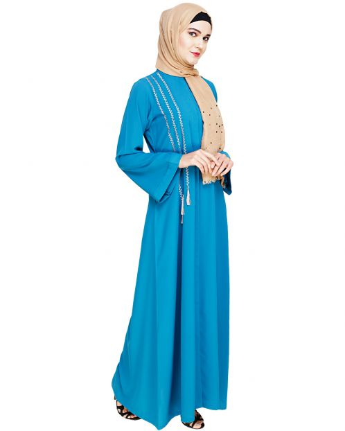 Elegant Teal Blue Embroidered Abaya