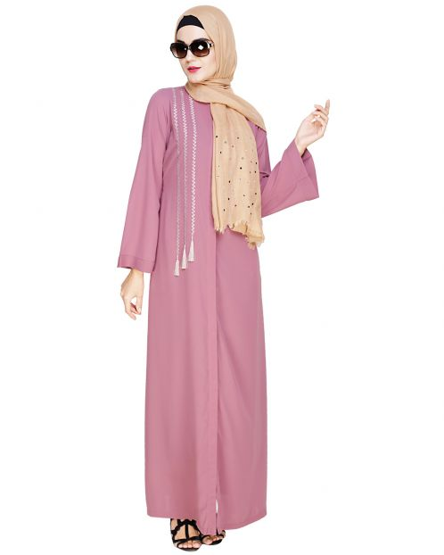 Elegant Onion Pink Embroidered Abaya
