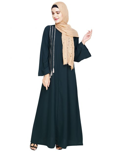 Elegant Green Embroidered Abaya