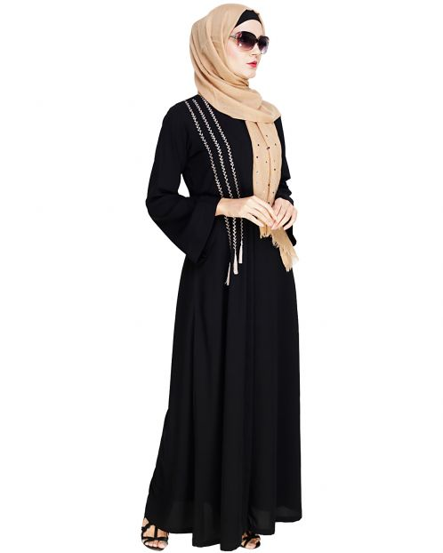 Elegant Black Embroidered Abaya