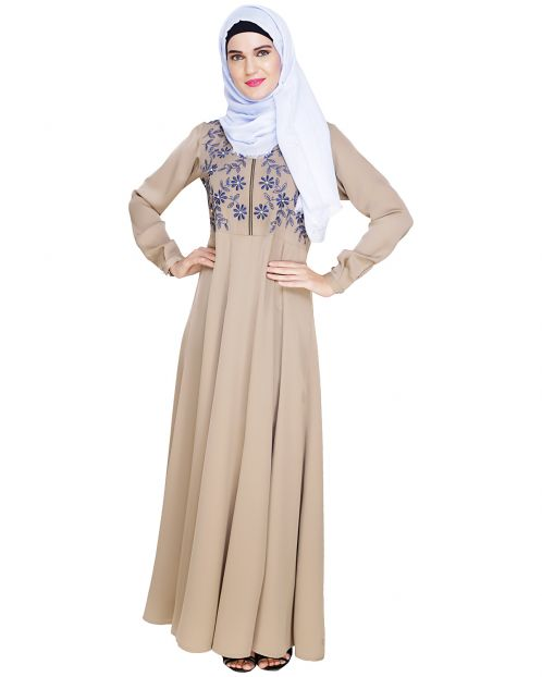 Beautiful Embroidered Yoke Beige Abaya