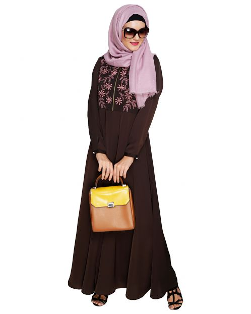 Beautiful Embroidered Yoke Brown Abaya
