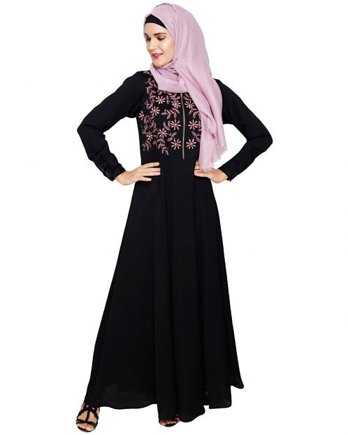 Beautiful Embroidered Yoke Black Abaya