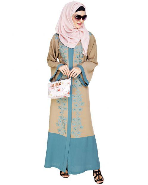 Bedazzled Seafoam Green Dubai Style Abaya