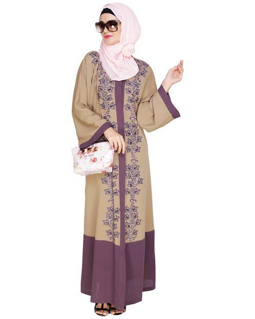 Bedazzled Mauve Dubai Style Abaya
