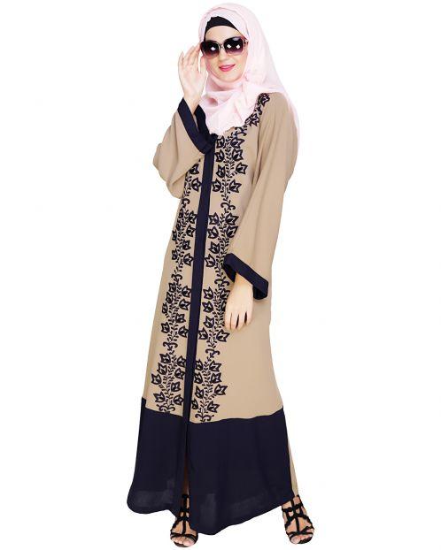 Bedazzled Dark Blue Dubai Style Abaya