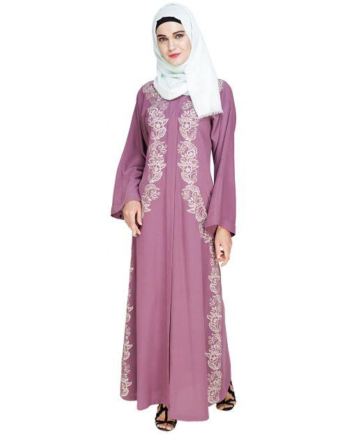 Astonishing Embroidered Mauve Dubai Style Abaya