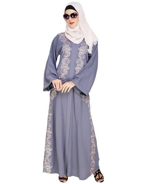 Astonishing Embroidered Grey Dubai Style Abaya