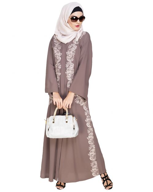 Astonishing Embroidered Brown Dubai Style Abaya