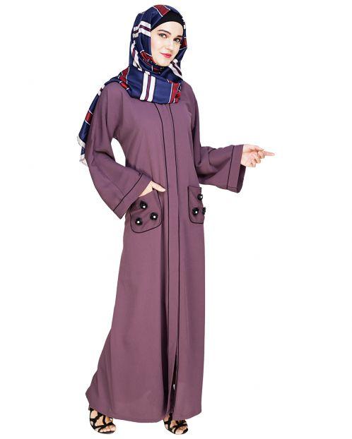 Classic Dubai Style Violet Abaya