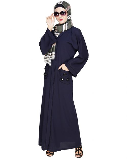 Classic Dubai Style Dark Blue Abaya