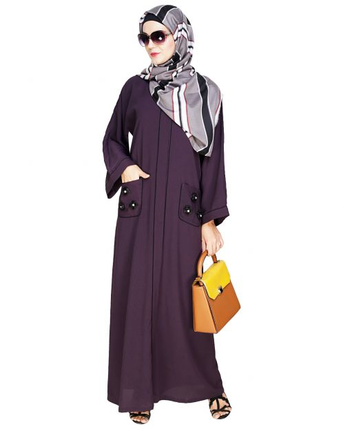 Classic Dubai Style Purple Abaya