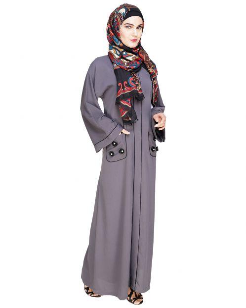 Classic Dubai Style Grey Abaya