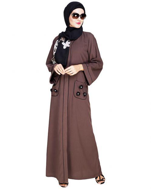 Classic Dubai Style Wood Brown Abaya