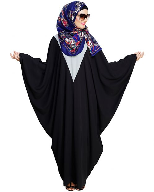 Colour Blocked Dark Grey Kaftan