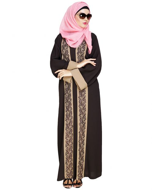 Exquisite Dubai Style Mud Brown Abaya
